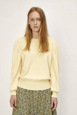 licht gele fijn gebreide trui met pofmouwen amber knit