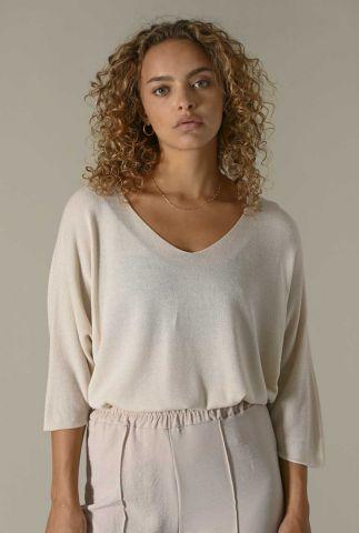 dunne beige trui met v-hals en 3/4 mouwen amber knit