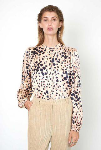 beige blouse van viscose met panter print amur shirt