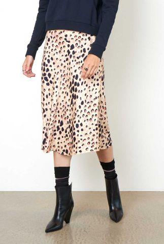 beige zijde look rok met all-over panter dessin Amur Skirt