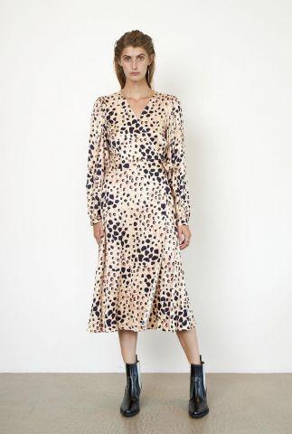 beige satijn look wikkeljurk met luipaard print amur wrap dress
