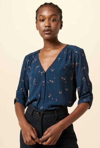 donker blauwe blouse met fijn bloemen dessin anako