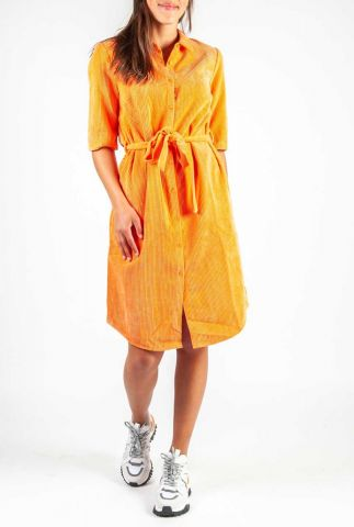 oranje rib fluwelen jurk met strikceintuur angie dress