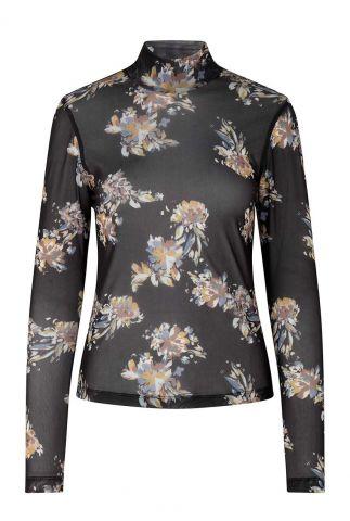 zwarte transparante top met col en bloemen anlia turtleneck blouse