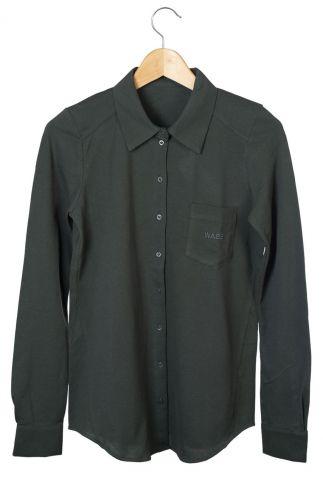 diep donker groene blouse met knoopsluiting anna