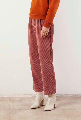 roze rib broek met elastische band valka pants