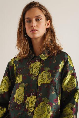 donker groen jack met bloemen print zvarick jacket