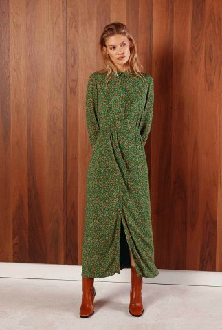 groene maxi jurk met luipaard dessin adeleide animal dress