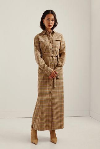geruite maxi jurk met ceintuur caiza dress l/s