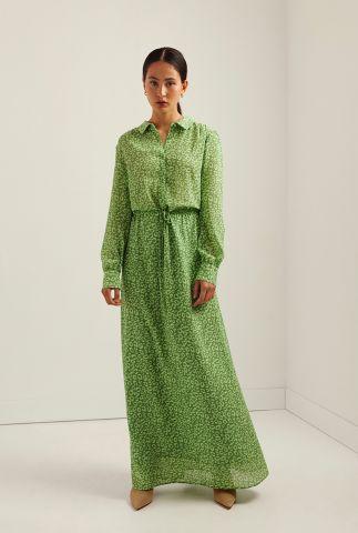 groene maxi jurk met luipaard print maley dress l/s