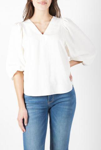 witte top met v-hals en pofmouwen antoni