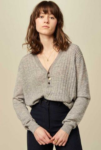 fijngebreide grijze trui met knoopjes anya