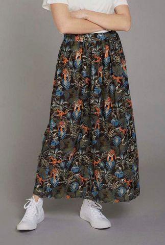 zwarte maxi rok met botanische jungle print parklife skirt