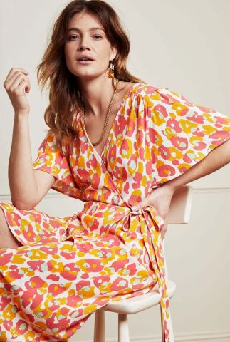 maxi overslag jurk met gekleurde print archana sleeve cato dress