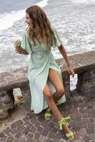 wikkeljurk met groene hartjes print archana sleeve dress