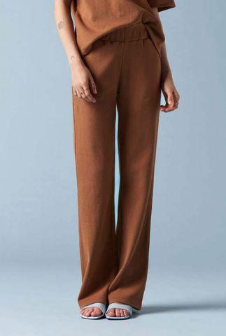 cognac broek met elastische tailleband arielle pants
