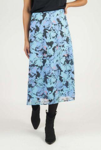 blauwe midi rok met sierlijke print arleen floral skirt