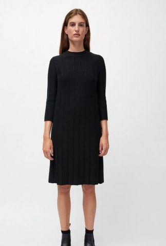 gebreide zwarte jurk met rib dessin ellaa 30001625