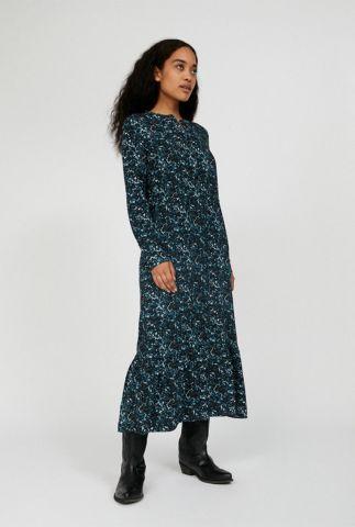 blauwe maxi jurk met gevlekte print serikaa heather 30002124