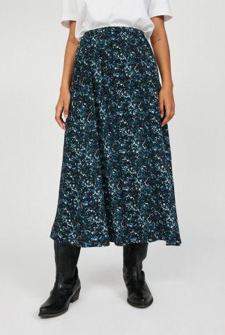 blauwe maxi rok met gevlekte print kataa heather 30002153