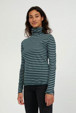 zwart-groen gestreepte top met col kraag malenaa stripes 30001507