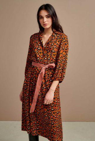 viscose jurk met luipaard print en velours ceintuur armory f1817