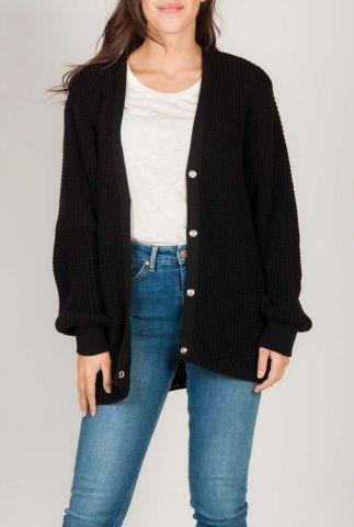 zwart half lang grof gebreid vest met structuur aston cardigan
