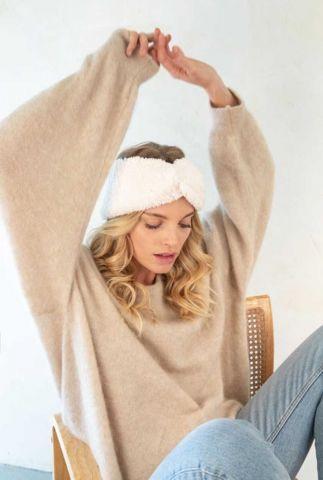 zachte witte elastische haarband met knoop laure haarband