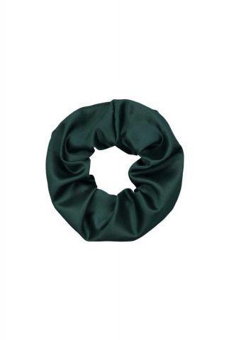groene satijnen scrunchie faux-scrunchie