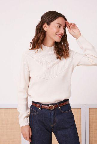 creme kleurige trui van 100% merino wol met hoge hals athos