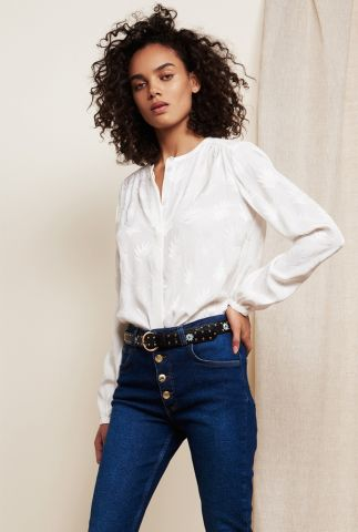 off-white viscosemix blouse met ingeweven palm dessin atlas blouse