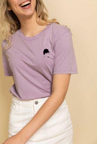 lila t-shirt met Audrey Hepburn opdruk audrey t-shirt