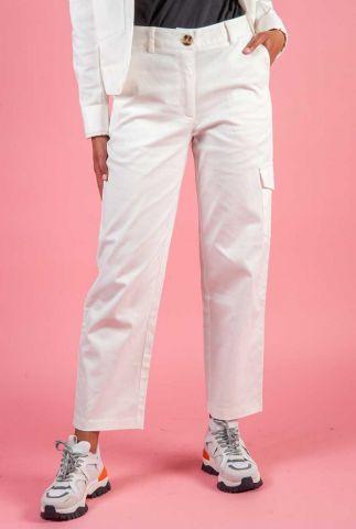 witte katoenen cargo broek met klepzak aan de zijkant audrey pants