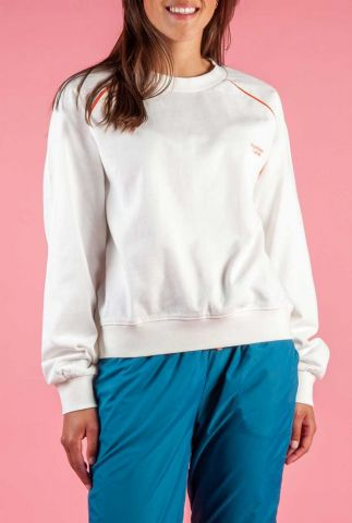 witte sweater met rood logo opdruk audry sweater