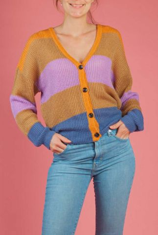 gestreept vest met knoopsluiting aura stripe cardigan
