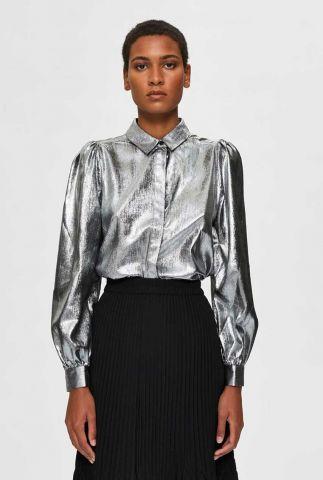 metallic blouse met pof mouwen aurelia shirt 16077600