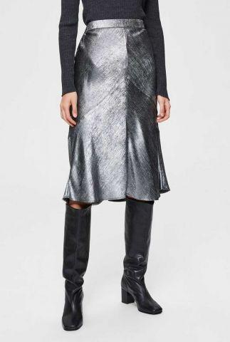 zilveren midi rok met elastische taille aurelia skirt 16076146