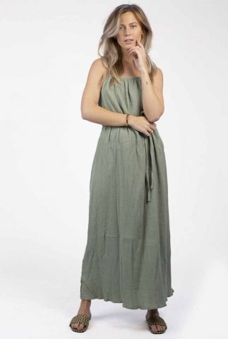 groene maxi jurk met ceintuur ava dress s21.56.1466
