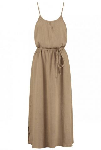 bruine maxi jurk van crepe katoen ava dress s21.56.6012