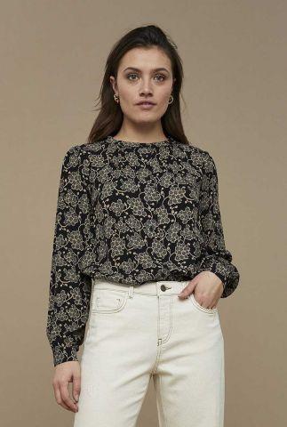 zwarte blouse met bloemdessin avia grapes blouse