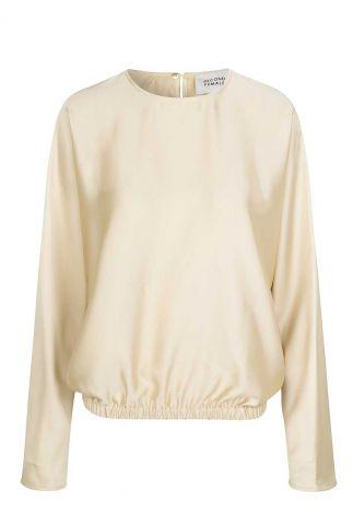 crème kleurige satijnen top met elastische band barbi blouse