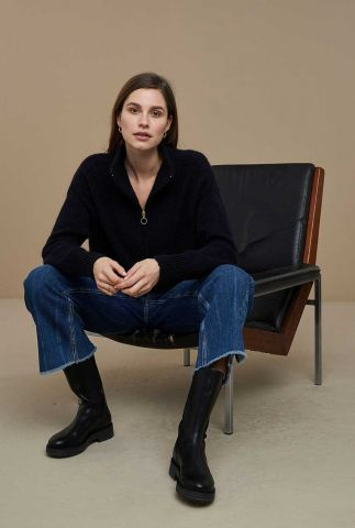 donkerblauw gebeide trui met rits in kraag beau pullover