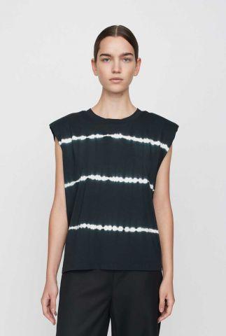 zwart tie-dye t-shirt met schoudervulling beijing top tiedye