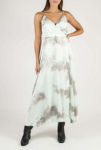 maxi wikkel jurk met dip-dye dessin en spaghettibandjes beline
