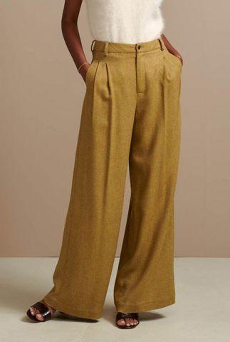 bruine high waist broek van viscose mix volkert f1880