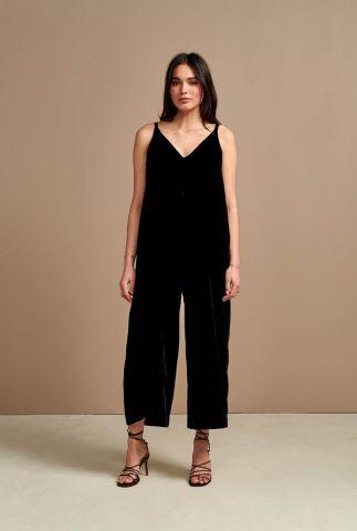 zwarte fluwelen jumpsuit met cropped pijpen harmony p1139