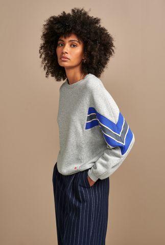 licht grijze sweater met gekleurde strepen details feati t1430