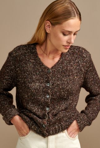 donker bruine gemêleerde vest van wol mix nekay k1195u