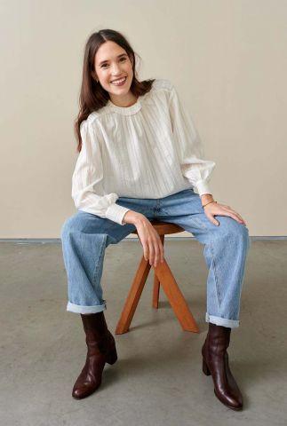 off-white blouse met ruche kraag en plooi details harper f1988