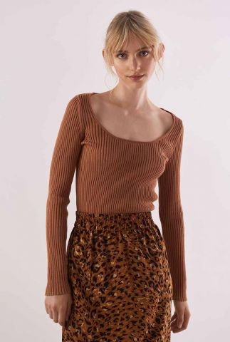 lichtbruine ribgebreide trui met vierkante hals berg knitted pull